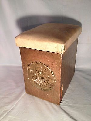 Antique Copper Over Wood Coal / Kindling Fireplace Box Stamped SHIP DECOR
