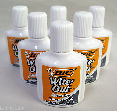 Lot of 6 BIC Wite-Out Quick Dry Correction Fluid, White, Foam Brush, .7 oz each