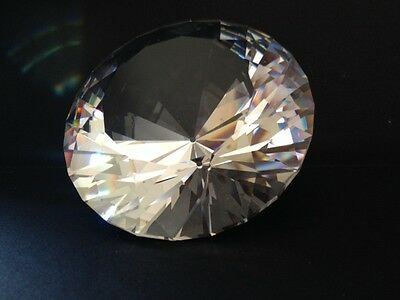 """Large Swarovski Silver Crystal Diamond Collector Paperweight 3.25"""" x 2"""""""
