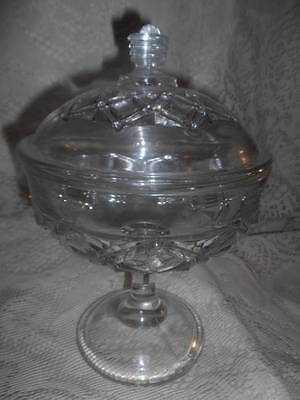 Vntg~Antique LG. Crystal Pressed Glass EAPG Diamond Dot Pedestal Covered Compote