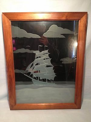 "NAUTICAL PRISON ART LAYERED ETCHED FROSTED GLASS SHIP PICTURE 27 1/4"" x 21 1/4"""