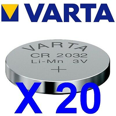 Lot de 20 piles CR2032 VARTA Lithium 3 Volts 230 mah neuves