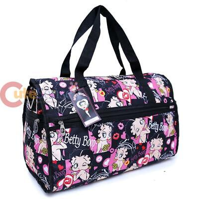 "Betty Boop Duffle Bag Travel Diaper Gym Overnight ShoulderBag Black Kiss 20"" XL"