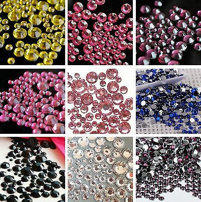 400 - 1000 pcs Mix Size 2mm - 6mm 14 Facets Resin Round Rhinestone Flatback DIY