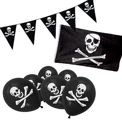 PIRATES FLAG JOLLY ROGER SKULL AND CROSS BONES RED BANDANA PARTY LARGE 5FX 3FT