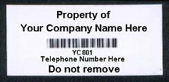 100 Barcode Asset Labels ID Tags CUSTOMISED Your detail