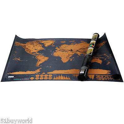 Scratch off World Travel Map Decorative Poster Personalized Travel Vacation Log