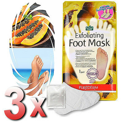 Purederm - 3x Exfoliating Foot Mask Soft Feet Remove Scrub Callus Hard Dead Skin