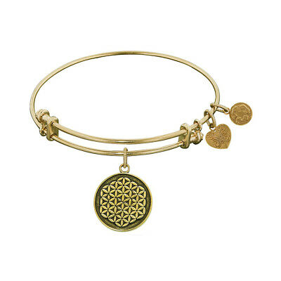 Antique Smooth Finish Brass Flower Of Life Angelica Bangle