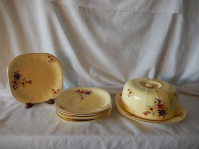 Antique Amer. Limoges Sebring OH  Covered Cheese Plate With Six Matching Plates