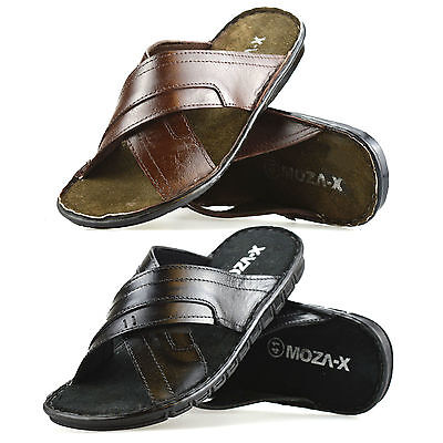 321b02a4b Mens New Leather Sandals Summer Beach Walking Comfort Flip Flop Mules Shoe  Size