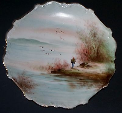 """Decorative Plate Charger with Hand Painted Ocean Scene and Man 10"""""""
