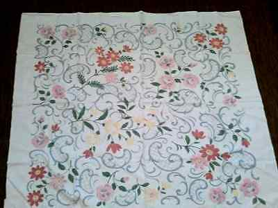 Vintage Square Linen WhiteTable Cloth 50 x 43 Flowers,Pinks Blues ,Grays