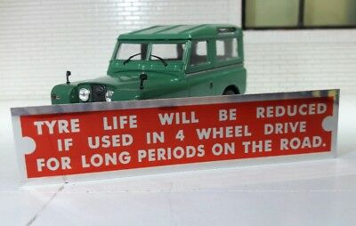 Land Rover Series 1 2 2a 3 4 Wheel Drive Info Warning Bulkhead Plaque Plate Tyre