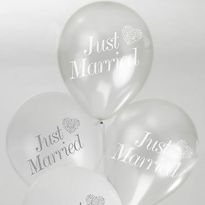 8 Just Married WEDDING BALLOONS White Silver VINTAGE ROMANCE Helium Air Latex