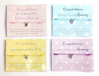 New Mum to be Gift / Wish Bracelet, baby feet, baby shower favour