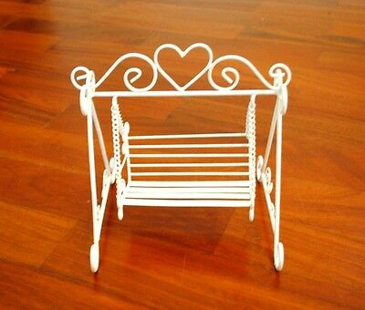 White Metal Garden Swing Doll House Furniture Vintage Home Wedding Decoration