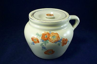 HALL'S ORANGE POPPY BEAN POT WITH THE LID, VERY GOOD CONDITION