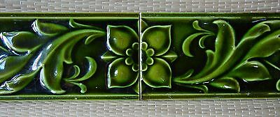 European - 2 Antique Art Nouveau Majolica Border Tiles C1900