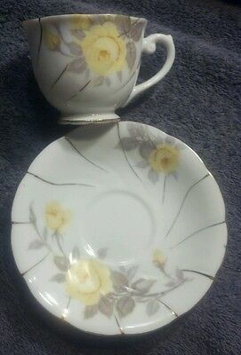 MINT CHERRY CHINA MADE IN JAPAN SMALL CUP&SAUCER YELLOW ROSE ROSES PATTERN