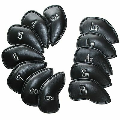 12 pcs Leather Golf Iron Head Covers for Ping Callaway Taylormade MIZUNO Black
