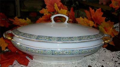 "VINTAGE ESTATE KPM GERMANY PORCELAIN SERVING BOWL WITH HANDLES, 12"" LONG"