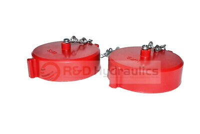 """2pk Fire Hydrant Adapter Cap and Chain 2-1/2"""" NST(F) Polycarbonate Red"""