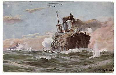 Wwi.sous-Marin Allemand Combattant Un Cargo.german U-Boot Fighting A Steamer.