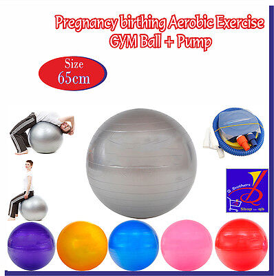 Pregnancy Birthing Aerobic Exercise Fitness GYM Yoga Ball SIZE 65cm UK Seller