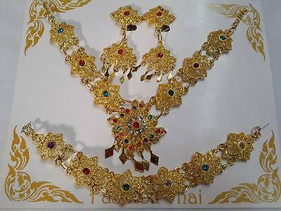 THAI Dance Costume brass TRADITIONAL JEWELRY WEDDING NECKLACE Bracelet Earrings