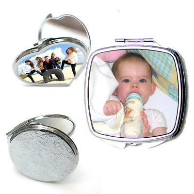 Personalised Custom Printed Compact Mirror Full colour photo or text ideal gift