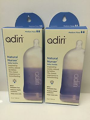2 X Adiri BPA Free Natural Nurser Bottle Stage 2 Blue, Medium Flow (3-6 months)