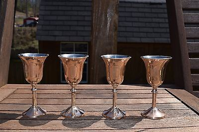 Vintage - Four Silverplate and Copperbrass Cordial Goblets ` Made in India