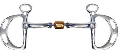 """Showman Stainless Steel Kimberwick Bit with D Cheeks 5"""" Mouth with Copper Roller"""