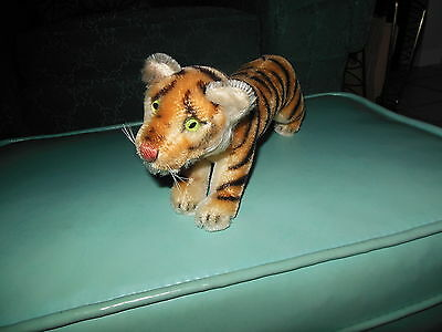"VINTAGE 4"" STEIFF STANDING TIGER GREEN GLASS EYES"