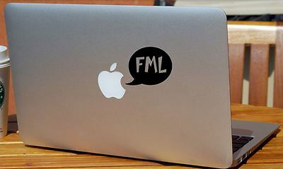 """FML"" novelty sticker for laptops, cars, Mac. Printed in Australia. Black Decal"