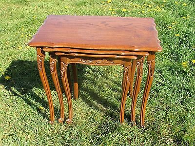 Antique Nesting Side Tables Oak Carved Wood