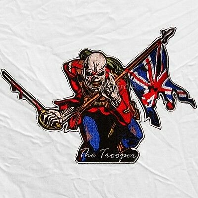 Iron Maiden The Trooper Big Logo Embroidered Patch Cover Eddie UK Flag & Sword