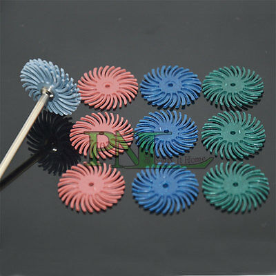 "RADIAL BRISTLE DISC BRUSH ASSORTMENT 12Pc. SET 1"" Diameter 4-GRITS - 3each"