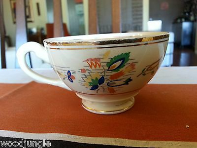 Antique Myott Art Deco Coffee Cup Primary Colors Flower Red Blue Yellow Green