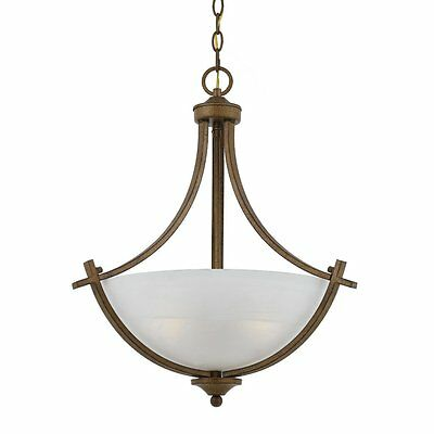 Antique Gold Pendant Light Triarch 33282-AG Ceiling Mount With Frosted Globe 20""