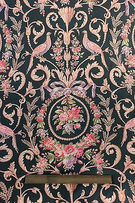 """French Antique c.1870 HandBlocked Birds&Cabbage Roses Cotton Fabric~3yds7""""LX31""""W"""
