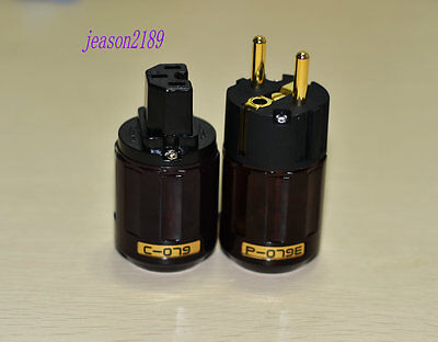New C-079 P-079e Gold Plated IEC plug, SCHUKO Connector