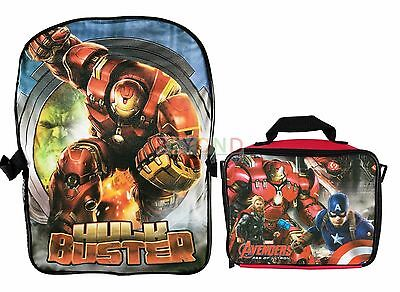 "Marvel Avengers with Hulk Smasher 16"" Backpack with Detachable Lunch Bag Combo"