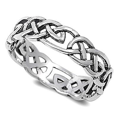 MENS WOMENS STERLING SILVER CELTIC FINGER THUMB RING 5mm WIDE 925 SILVER