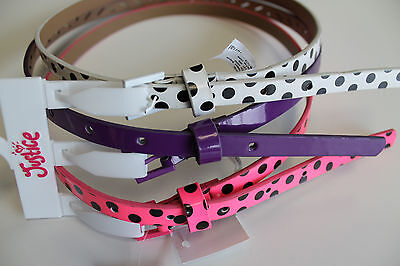 GIRL'S BELT'S 3pk JUSTICE  SIZE XS SMALL MEDIUM LARGE  3 STYLES & COLORS NEW