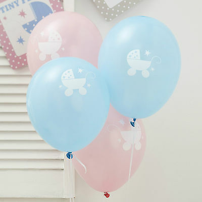 8 TINY FEET PARTY BALLOONS White Christening Baby Shower Naming Day 1st Birthday