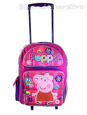 New Nickelodean Peppa Pig 16 Rolling Backpack Rolling Luggage For
