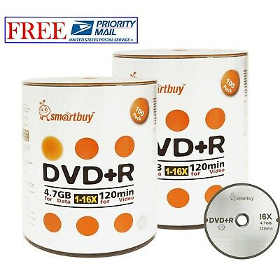 200 Pack Smartbuy 16X DVD+R 4.7GB Branded Logo Top Data Video Blank Record Disc