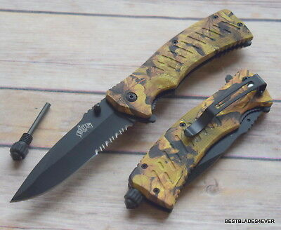 Master Usa Fire Starter Spring Assisted Knife With Pocket Clip - 8.5 Inch
